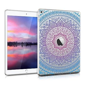 kwmobile Funda para Apple iPad Air 2 - Carcasa [Trasera] para Tablet de [Silicona TPU] - Cover en [Azul/Rosa Fucsia/Transparente]