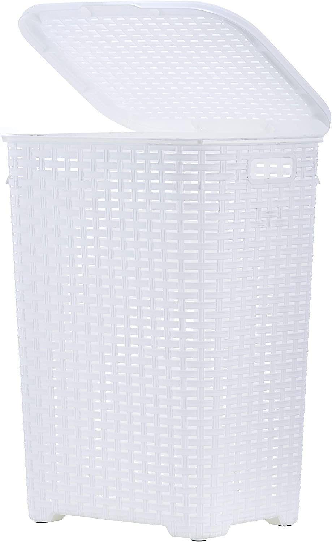 Basket Laundry Door Games Wicker Rush White cm 52x38x60 H pellets