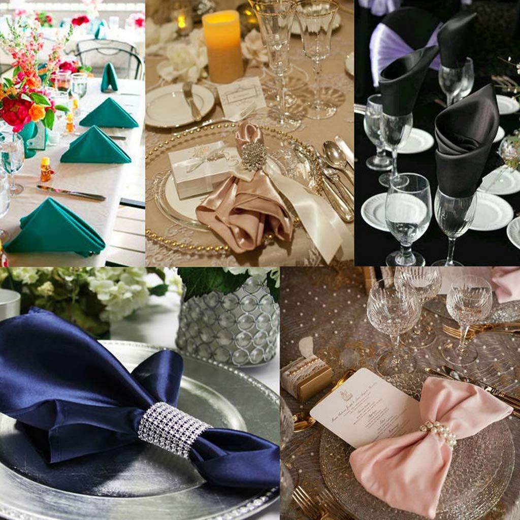 100PCS, Argent Yanhonin Ronds de Serviettes de Table en Strass pour Banquet et Mariage