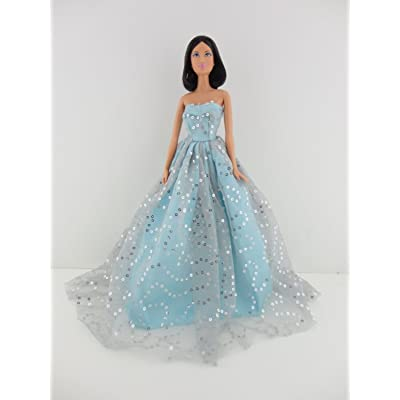 Light Blue Ball Gown with Lots of Sparkle Made to Fit Barbie Doll: Toys & Games