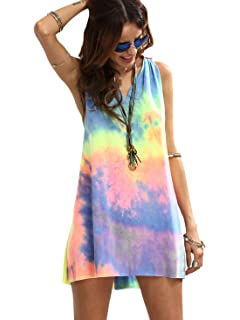 98c7204e7e6c Romwe Women s Sleeveless V Neck Tie Dye Tunic Tops Casual Swing Tee Shirt  Dress