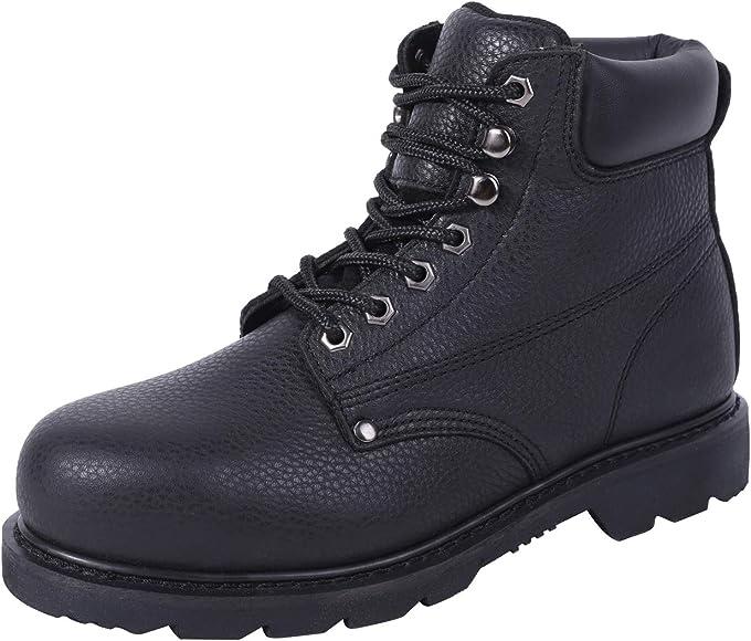 BOIWANMA Steel Toe Work Boots, Non Slip