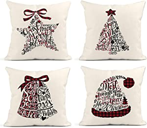 Britimes Throw Pillow Covers 18x18 Inches Christmas Home Decor Set of 4 Pillow Cases Decorative for Bed Sofa Cushion Couch Winter Outdoor Pentagram Hat Bell Tree Pillowcases (Black and Red)