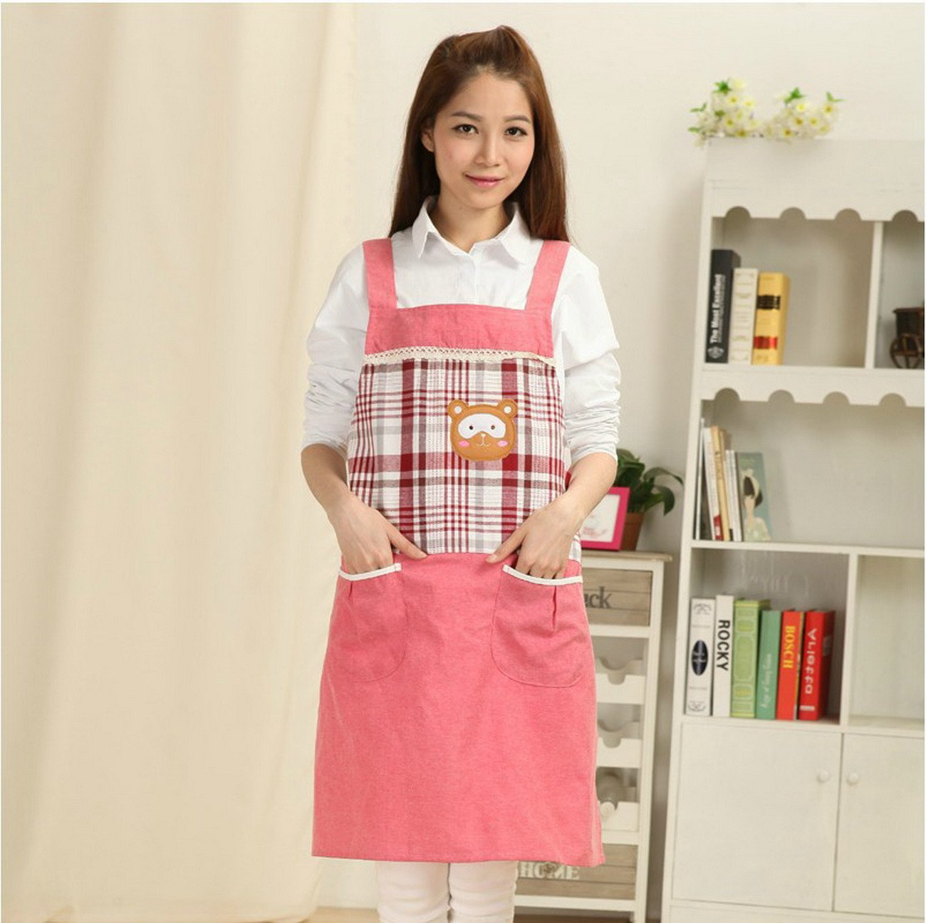 Geranjie新しいメス服カフェキッチン料理BakingエプロンTea Shopホームファッションキュートコットンエプロンfor Woman印刷ロゴ   B078S4W4GG