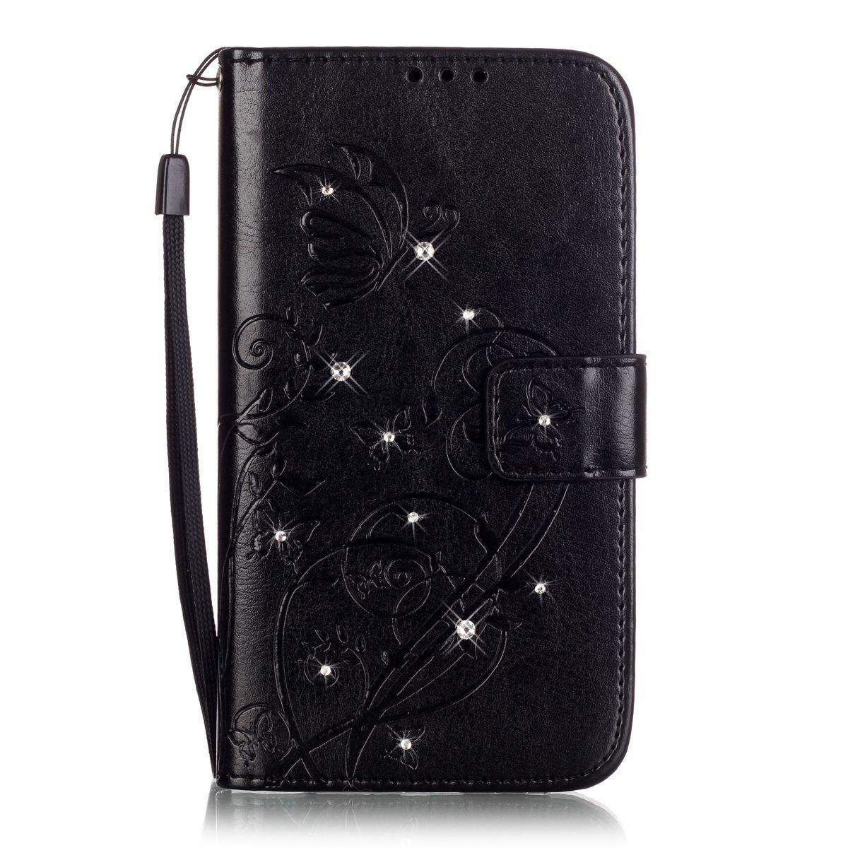 QPOLLY Compatible avec Coque Huawei P8 Lite 2017 Brillante Diamant Portefeuille en Cuir /Étui avec Fentes de Cartes /Él/égant Motif Fleur Glitter Bling Strass Flip Case Housse avec Fonction Stand,Noir