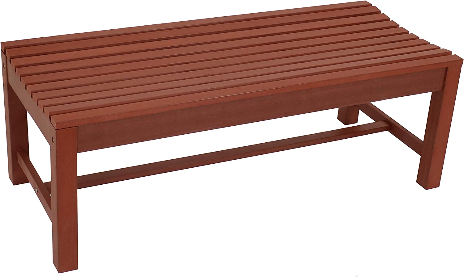 Sunnydaze Shandon Outdoor Backless Bench - Waterproof and Weather-Resistant Faux Wood HDPE Patio Furniture - Outside Seating for Lawn, Garden, Balcony and Backyard - 50-Inch - Cherry Finish