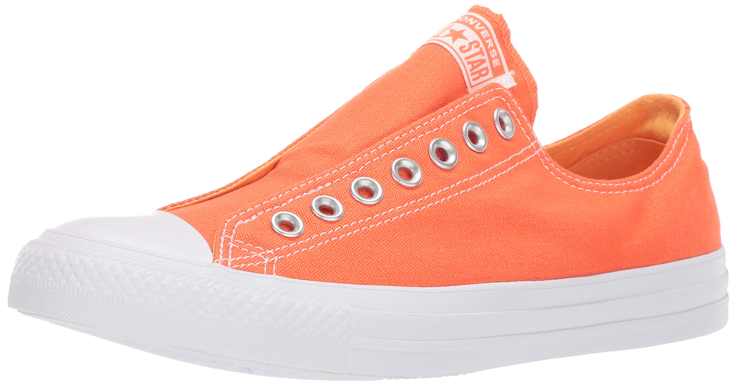 Converse Unisex Chuck Taylor All Star Slip On Sneaker, Turf OrangeMelon BallerWhite, 3.5 Men'sWomen's 5.5
