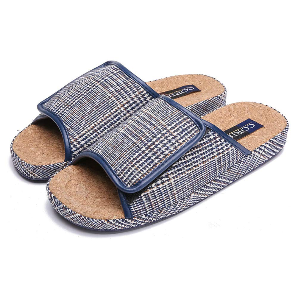 BUYITNOW Mens Extra Extra Wide Slippers with Adjustable Closures, Cozy Linen Summer Skidproof Indoor Slippers