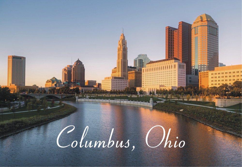 Columbus, Ohio, City, Skyline, River, OH, Souvenir Magnet 2 x 3 Fridge Magnet