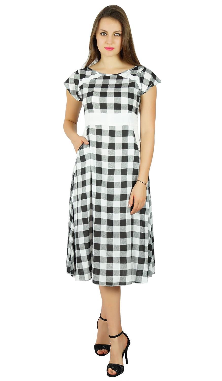 1f0a0cab672a Bimba Womens Check Pattern Cotton Shift Dress with Pockets Knee Length  Casual Wear  Amazon.co.uk  Clothing