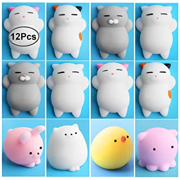 Outee Mini Squishies Kawaii, 12 Peces Animal Squishies Mochi Squeeze Juguetes Soft Squishy Release Stress Animal Juguetes Mini Oso de Gato Conejo Polluelo ...