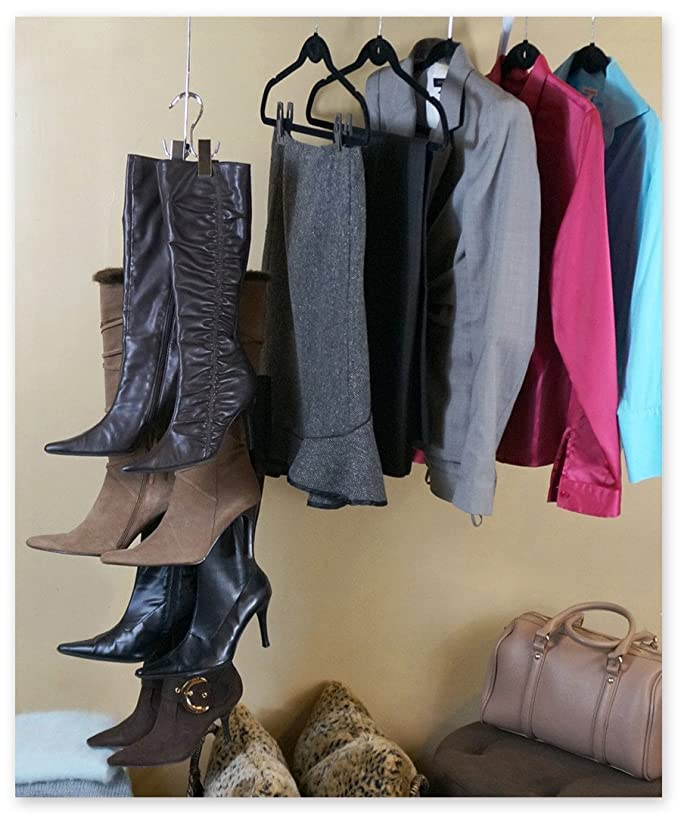 Amazon.com: NEW IMPROVED SYSTEM: Boot Stax   Vertical Boot Storage System    1 Hanging Swivel Rod With 12 Hooks   Includes 6 Boot Hangers (Boot Stax):  Home U0026 ...