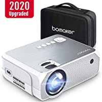 Mini Projector, Bomaker [2020 Upgraded] Portable Projector, 4500 Lux Video Projector, 1080P and 250'' Display Supported, Compatible with TV Stick, PS4, HDMI, VGA, TF, AV and USB