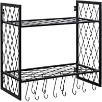 OROPY Wall Mount 2 Tier Pot Pan Rack Cookware Hanging Storage Shelves, 12 S Hooks Included for Pans, Utensils, Books, Plants (23.6'' x 11.8'' x 23.6'')