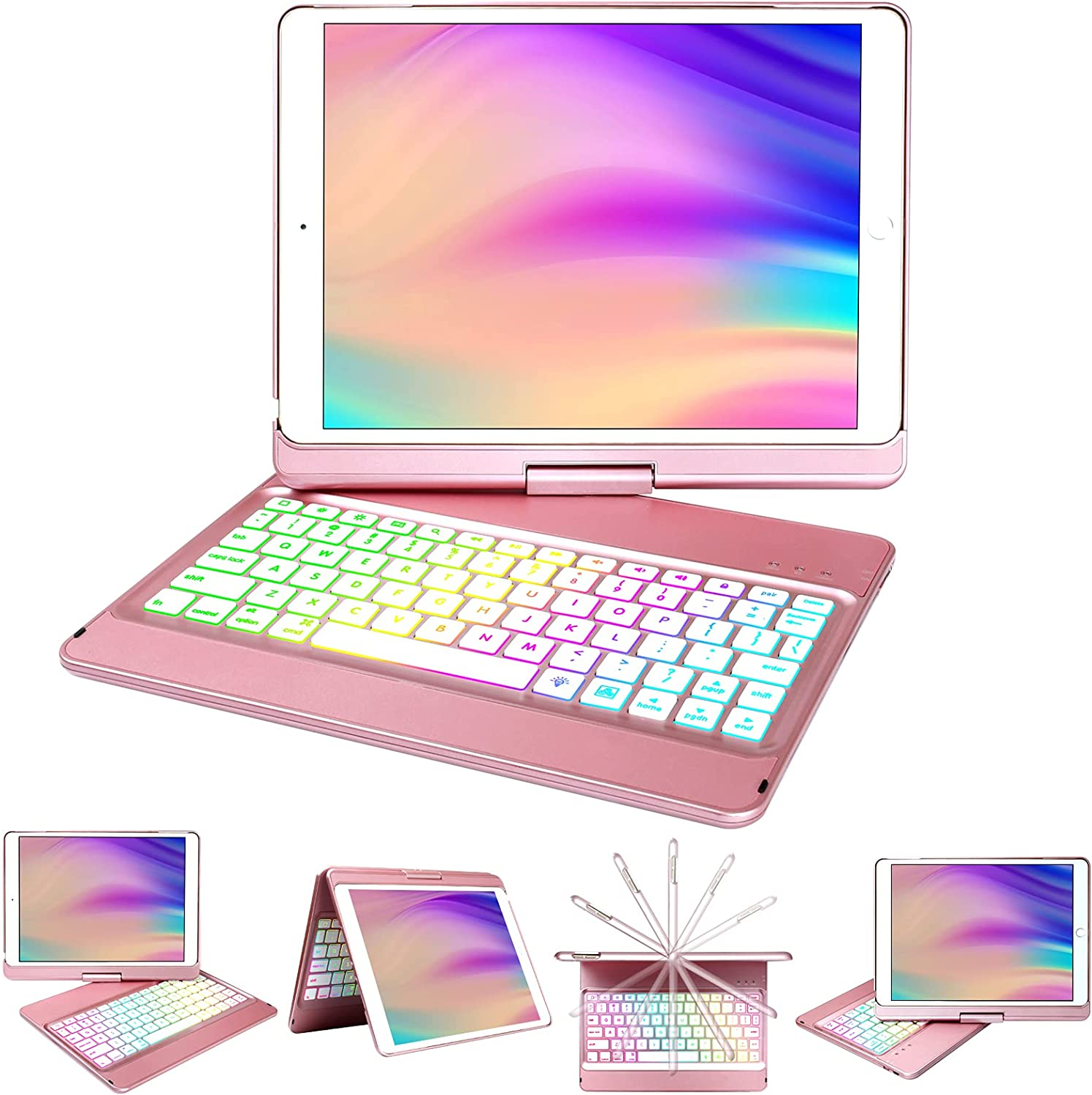 iPad Case Keyboard 10.2 for iPad 8th Generation/7th Gen,Keyboard for 10.2 8th/7th Gen with Wireless BT 5.0 Keyboard-10 Color Backlit-360° Rotatable Slim Protective Cover-Auto Sleep/Wake Tablet Case