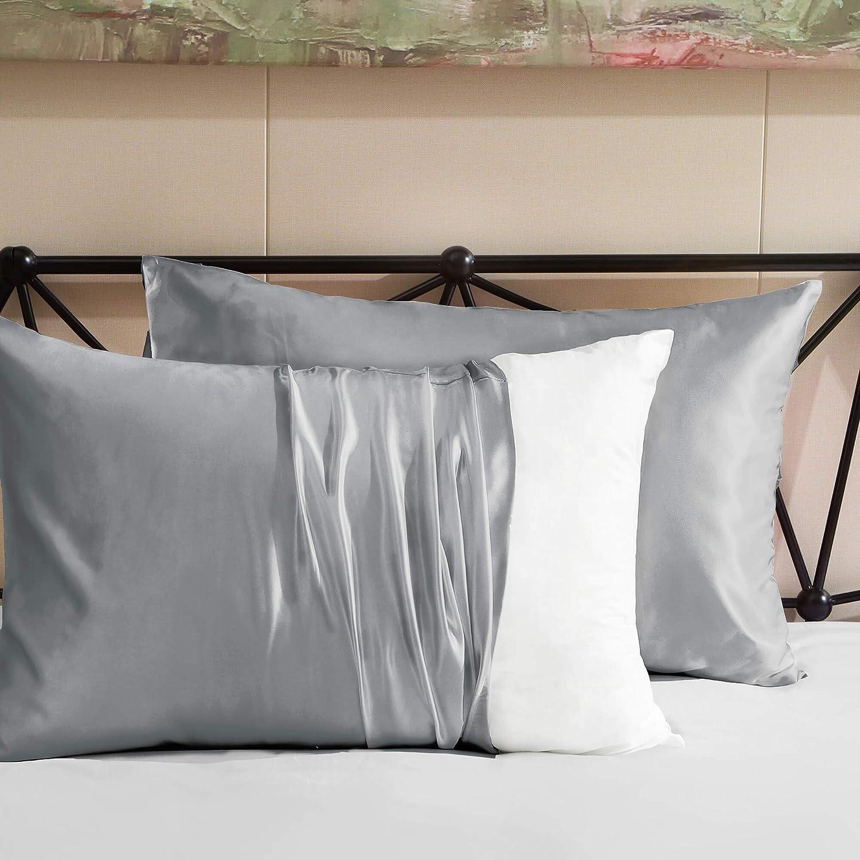 20x40 Hboemde 2-Pack Satin Pillowcases Set for Hair and Skin,Light Gray Pillow case Set of 2 Envelope Closure Pillowcases-King