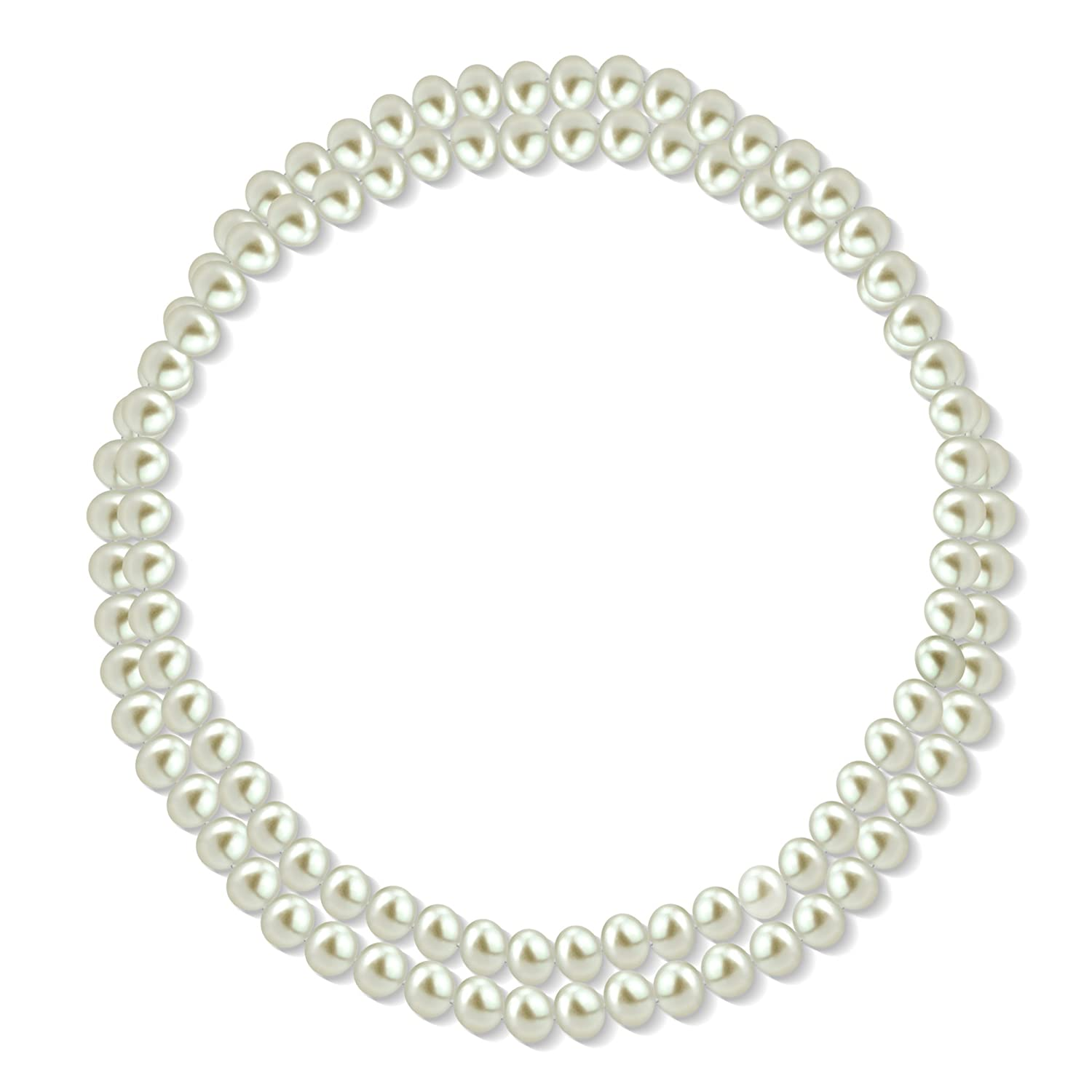 """10-10.5mm White Freshwater Cultured High Luster Pearl Endless Necklace, 36"""""""