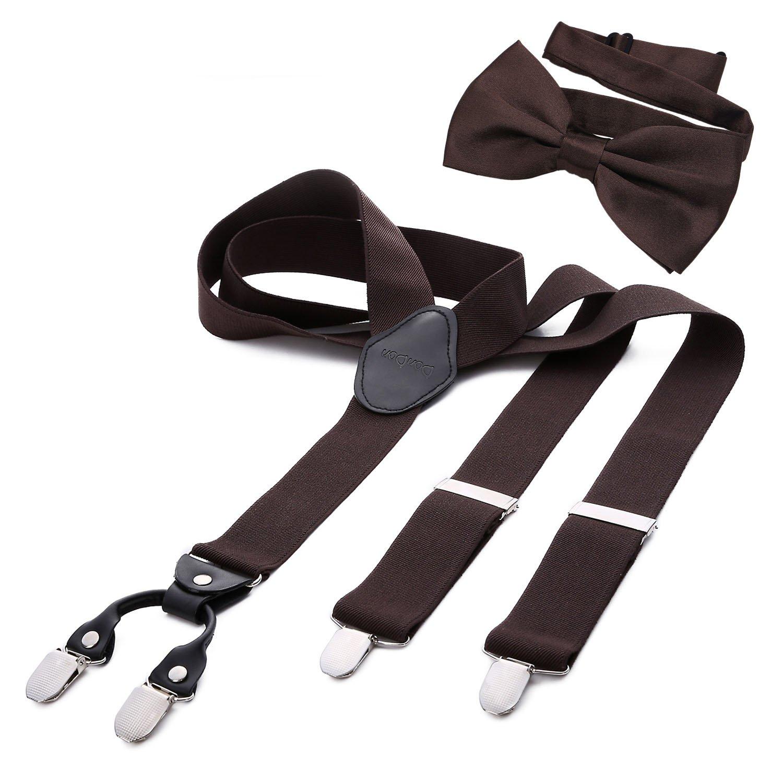DonDon Tirantes para hombres ancho 3,5 cm en forma de Y, elásticos y ajustables en paquete de 2 con pajaritas adecuada en diferentes colores 12 x 6 cm HST23-FLG39
