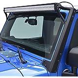 "E-Autogrilles 52"" Straight LED Light Bar Upper Windshield Mounting Brackets for 07-17 Jeep Wrangler JK"