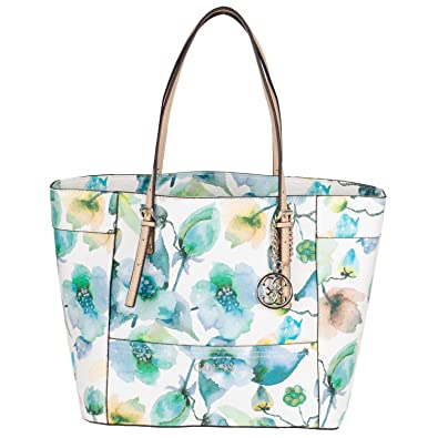 85dde40002ba Guess Delaney Medium Classic Tote VY453523 Arm Candy 40x28x13 cm Sky Multi   Amazon.co.uk  Shoes   Bags