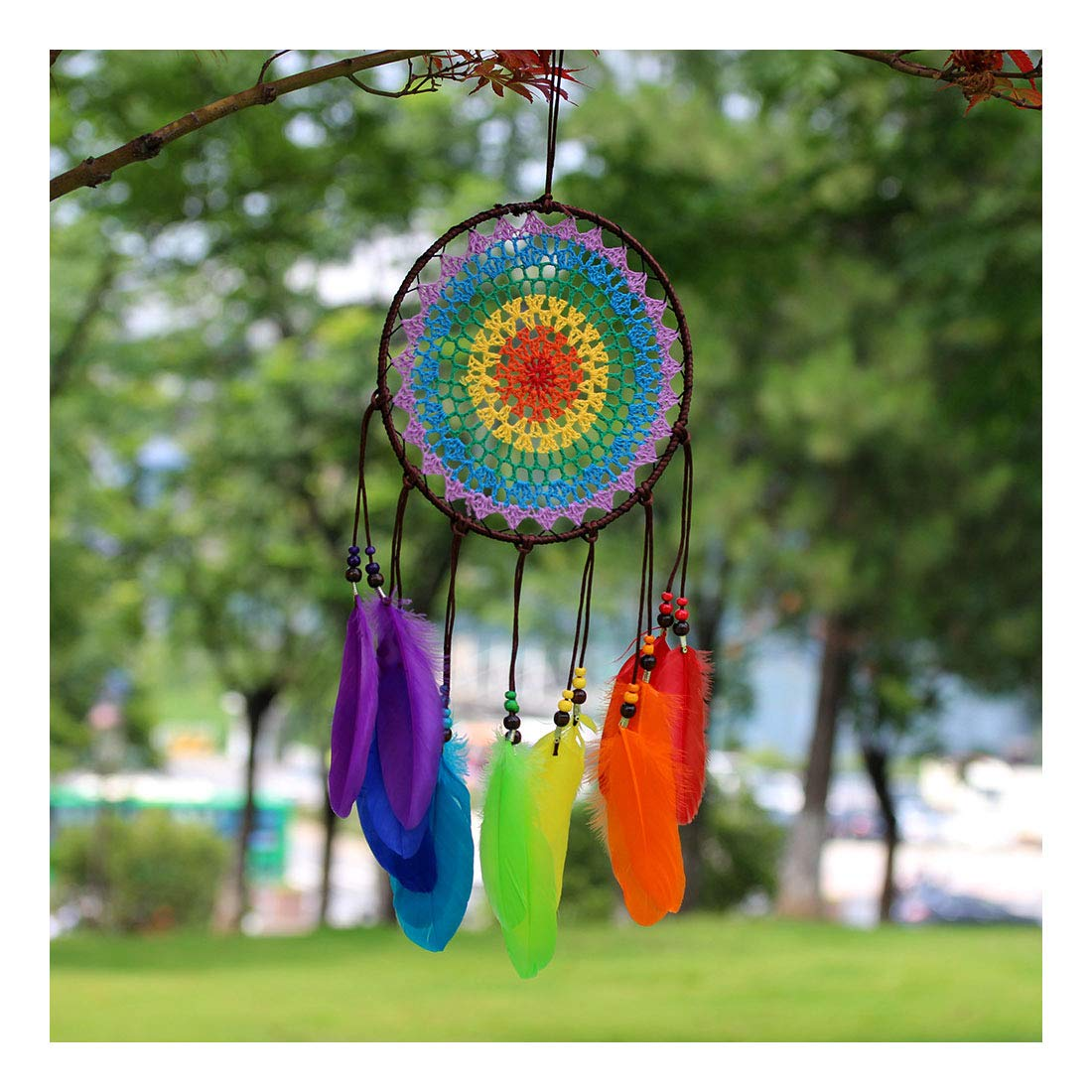 "MoreShow Colorful Premium Woven Handmade Dream Catcher Pendant Decoration House Ceremony Living Room Home Furnishing Accessories-Boho Wall Decor(7.9""W X 23.7""L)"