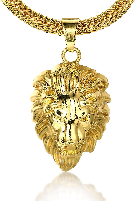 Halukakah ● Kings Landing ● Hombres 18K Oro Verdadero Plateado León Corona Colgante Collar con Cadena Cola de Tiburón Gratis 30