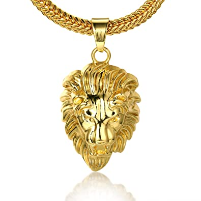 488b11db27c26 Halukakah ○ Kings Landing ○ Men s 18k Real Gold Plated 3D Lion Pendant  Necklace with Free SharkTail Chain 30