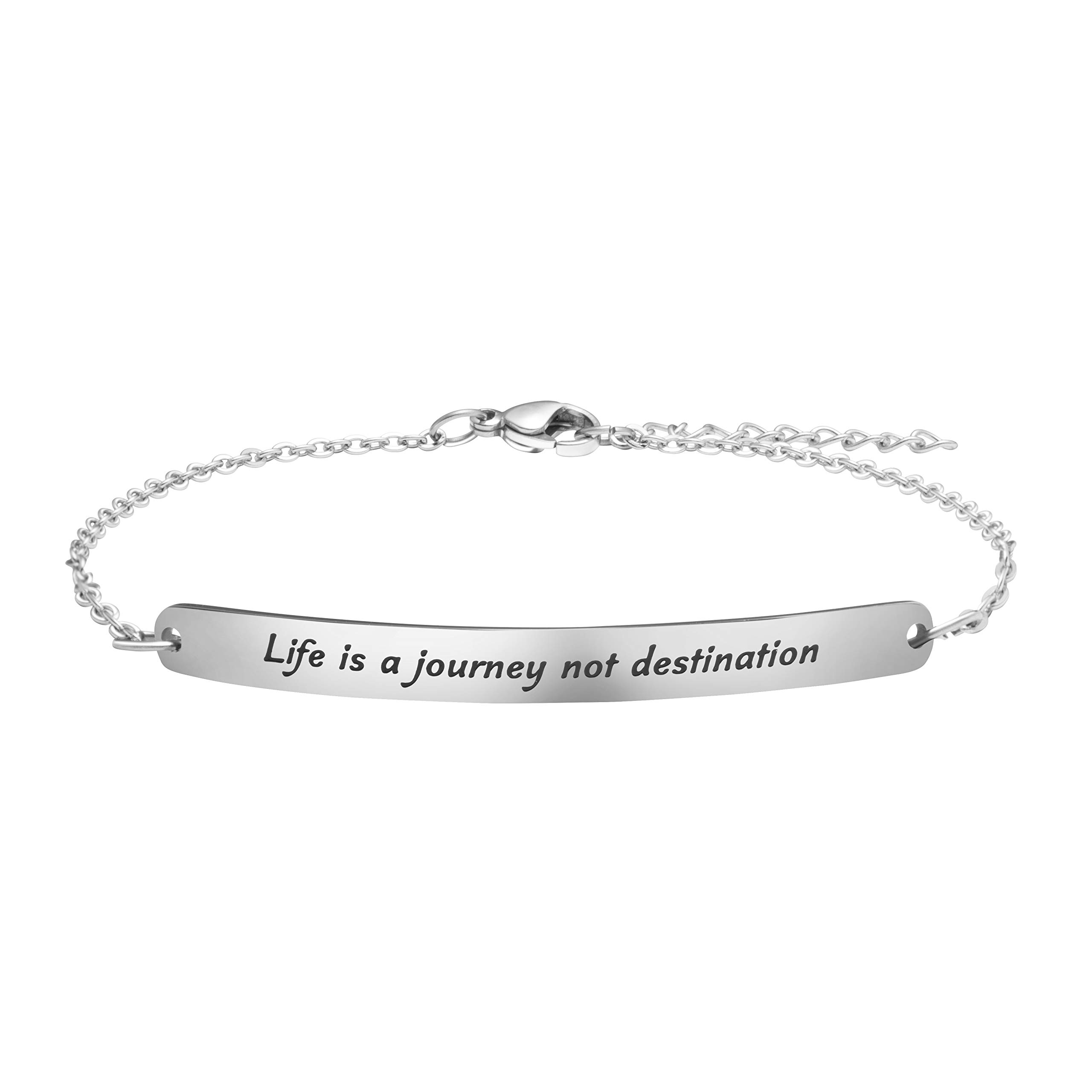 Inspirational Bracelet Birthday Gifts for Women Christmas Jewelry Mantra Silver Stainless Steel Chain Life is A Journey Not A Destination