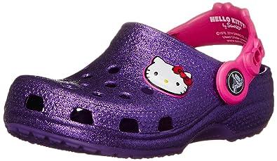 ddda94649 crocs Hello Kitty Glitter NA Clog (Toddler/Little Kid), Neon Purple ...