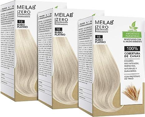 MEILAB - Tinte permanente sin amoniaco - Pack de 3 unidades - Color Rubio Clarísimo #10