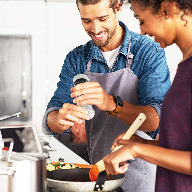 les chefs ou les gourmets Spice It Up Lot de 2 moulins /à poivre noirs parfait pour la cuisine et une excellente id/ée cadeau pour les cuisiniers /à la maison conteneur de 40 g avec broyeur