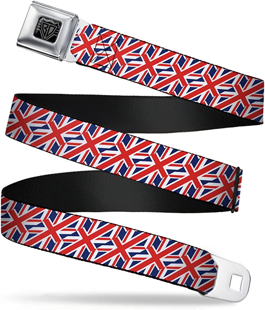 1.0 Wide United Kingdom Flags Diagonal Buckle-Down Seatbelt Belt 20-36 Inches in Length