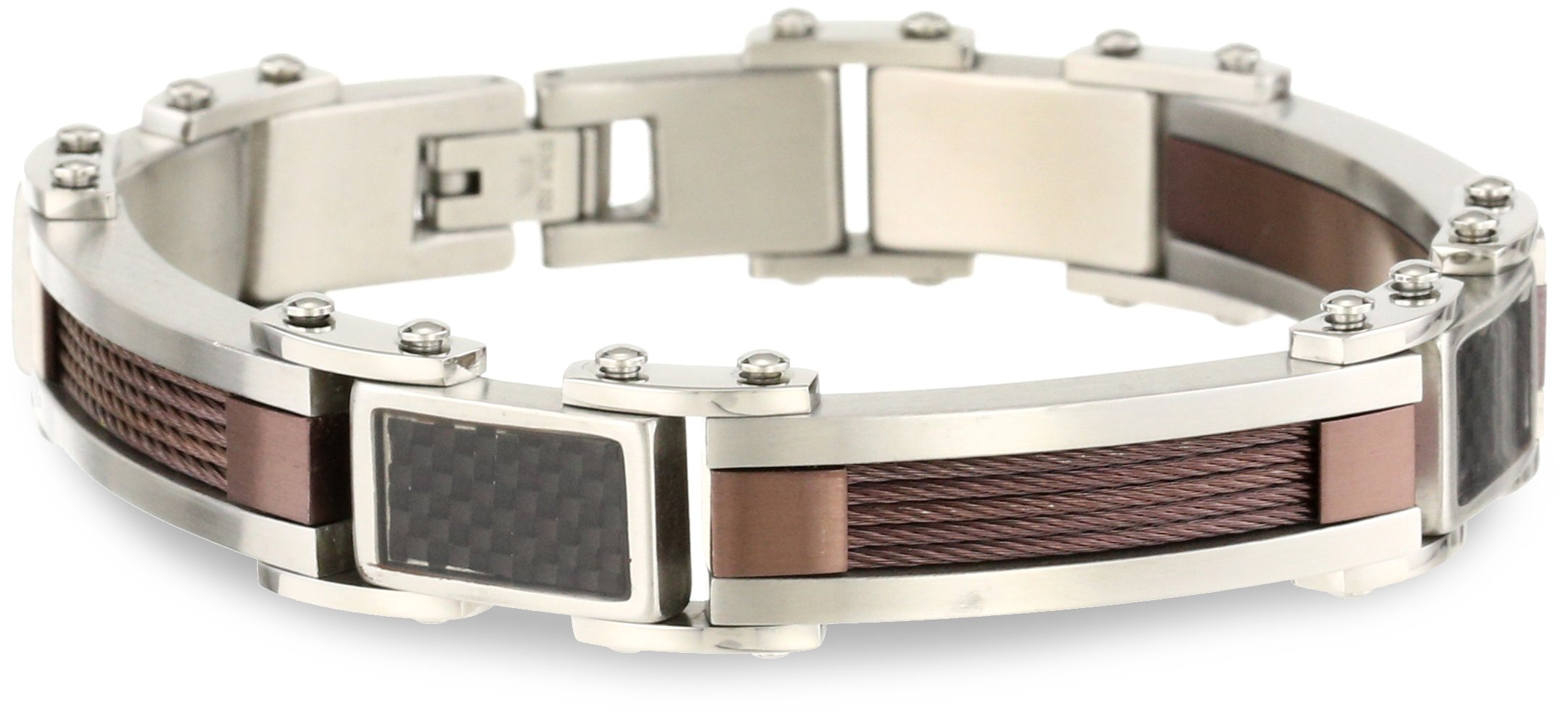 Cold Steel Stainless Steel Brown Immersion Plate and Carbon Fiber Men's Bracelet