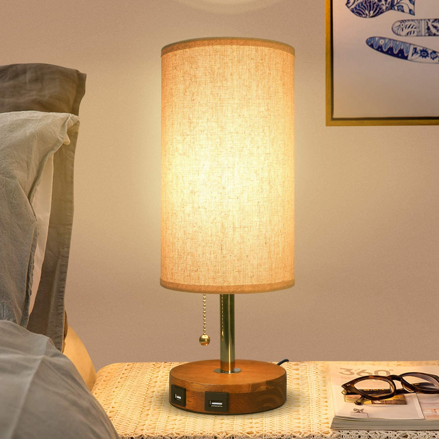 Dual USB Table Lamp, Wooden Base