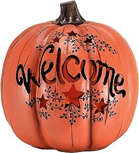 Orange Welcome Pumpkin Vine Star Cutout LED Light Up 7.5 Inch Resin Stone Tabletop Decoration