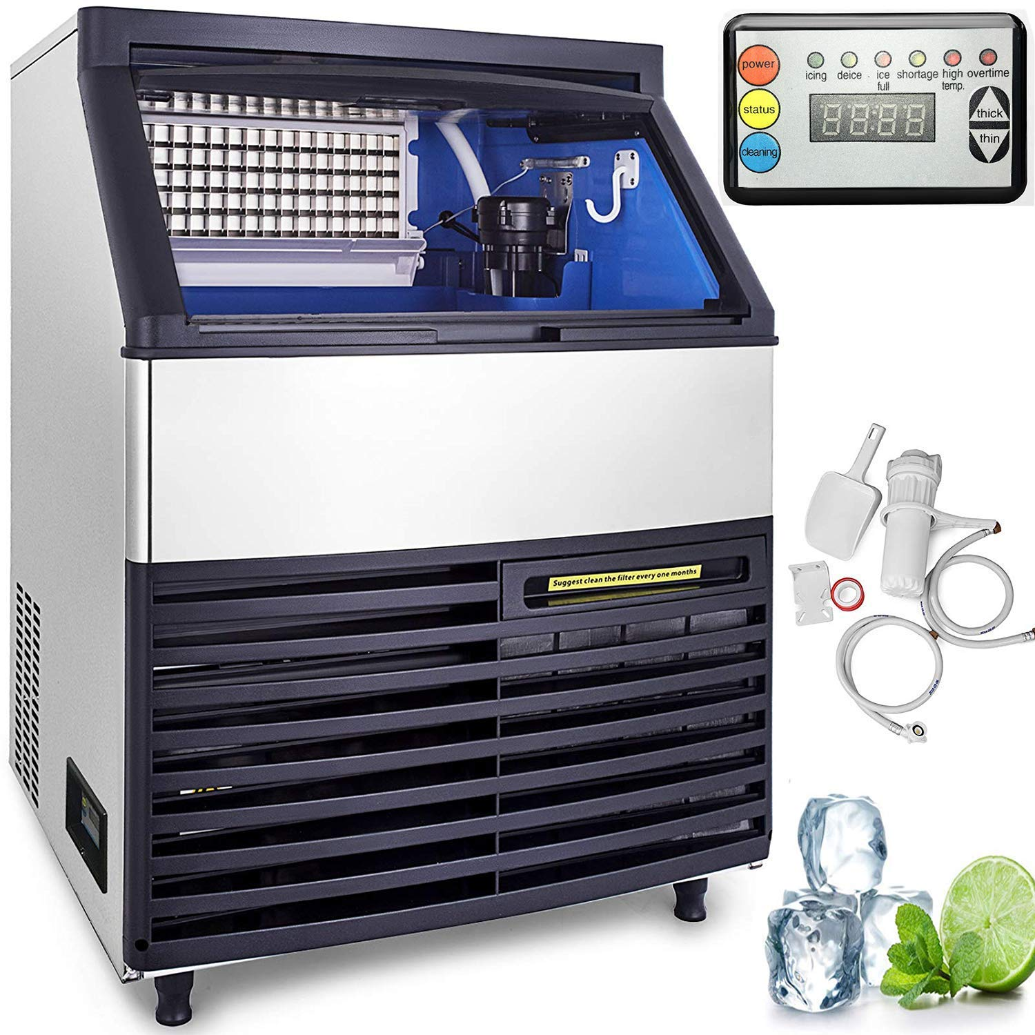 VEVOR 110V Commercial Ice Maker 264LBS/24H with 99LBS Storage Capacity Commercial Ice Machine 90 Ice Cubes Per Plate Include Scoop and Connection Hoses Auto Clean for Bar Home Supermarkets Restaurant