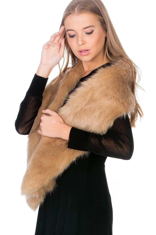 Camel Women's Winter Warm Faux Fur Muffler Scarf