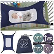 Baby Hammock for Crib – Mimics Mother's Womb - Infant Safety Hammock – Heavy Duty & Adjustable Straps – Ultra Soft Fabric with Reinforced Net, Newborn Infant Nursery Bed by Baby&Joy (Navy Blue)