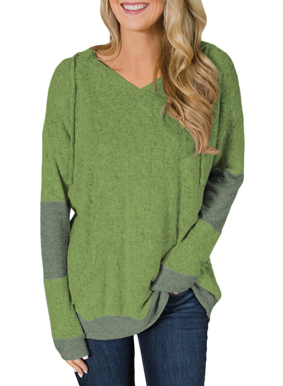 f5d1211a8bf08 HOTAPEI Women s Fashion Cozy Pullover Hoodie Sweatshirt Oversized Baggy  Loose V-Neck Long Sleeve Tunic Shirt Knit Sweater Tops Blouses Army Green  X-Large