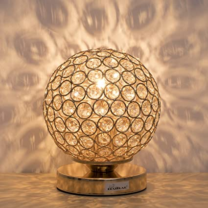 Charming Crystal Ball Table Lamp   HAITRAL Vintage Modern Night Light Lamp,  Nightstand Decorative Room Desk