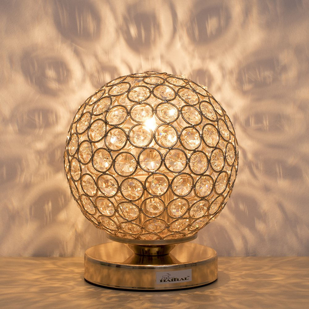 Crystal Ball Table Lamp - HAITRAL Vintage Modern Night Light Lamp, Nightstand Decorative Room Desk Lamp for Bedroom, Living Room, Kitchen, Dining Room (Gold) by HAITRAL