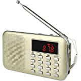 TIVDIO L-218 Am Fm Radio Portable Rechargeable Transistor Radios Small with Headphone Jack Mp3 Music Player Speaker Support Micro IF Card (Gold)