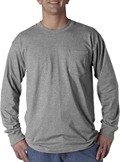 product image for Bayside Adult Long-Sleeve Tee with Pocket 8100 - Dark Ash_M