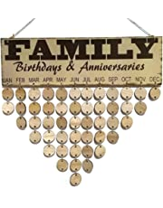 Healifty Family Birthdays and Anniversaries Board Hanging DIY Calendar Wooden Plaque Birthday Reminder Home Decor (Colorful, 1 Plaque, 1 Rope, 50 Round Discs)