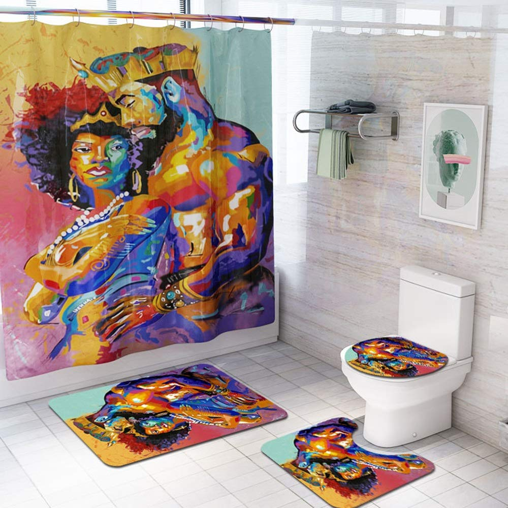 ETH African Men and Women Pattern Shower Curtain Floor Mat Bathroom Toilet Seat Four-Piece Carpet Water Absorption Does Not Fade Versatile Comfortable Bathroom Mat Can Be Machine Washed Durable by ETH