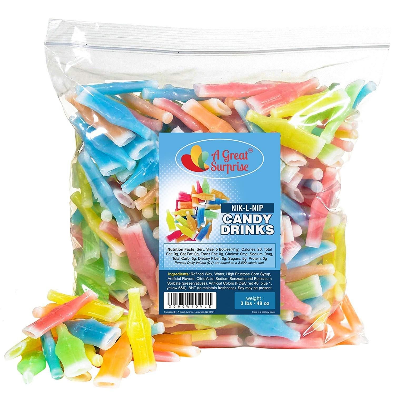 Nik-L-Nip Wax Bottles Candy Drinks, 3 LB Bulk Candy