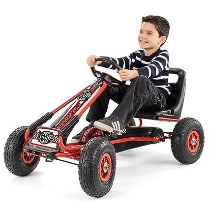 Charles Bentley Kids Go-Kart Neumáticos Grandes del Rojo y Negro Pedal de Freno de Mano Engranaje de Goma 3+: Amazon.es: Juguetes y juegos