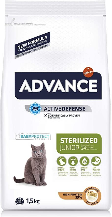Advance 921598 Junior Sterilized - Pienso para Gatos esterilizados de hasta 2 años de Edad - 1.5 kg: Amazon.es: Productos para mascotas