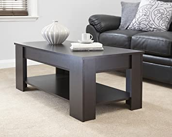 MODERN CONTEMPORARY EXCLUSIVE ESPRESSO DARK BROWN LIFT UP COFFEE TABLE LIVING ROOM CENTRE