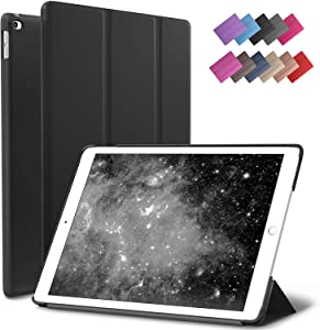 ROARTZ iPad Air 2 Case, Black Slim Fit Smart Rubber Coated Folio Case Hard Shell Cover Light-Weight Auto Wake/Sleep for Apple iPad Air 2nd Generation A1566/A1567 Retina Display